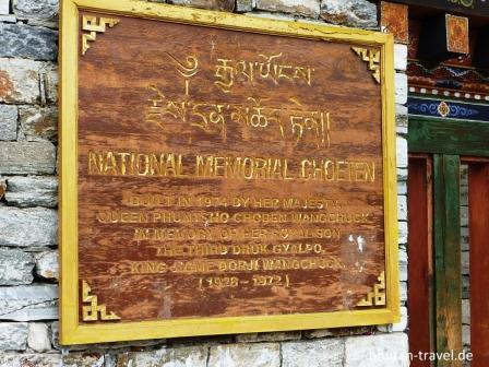 01 schild der national memorial choeten in thimphu